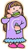 picture of a young girl in her pajamas brushing her teeth in a vector clip art illustration clipart