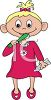 picture of a cute little girl brushing her teeth in a vector clip art illustration clipart