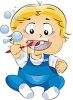 picture of a toddler sitting down brushing his teeth in a vector clip art illustration clipart