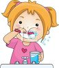 picture of a young girl in the bathroom brushing her teeth in a vector clip art illustration clipart