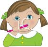 picture of a girl brushing her teeth in a vector clip art illustration clipart