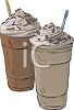 picture of two milkshakes with chocolate sprinkles in a vector clip art illustration clipart