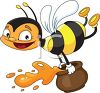 picture of a happy honeybee flying and holding a jar of honey in a vector clip art illustration clipart