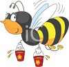 picture of a honeybee flying with two buckets of honey in a vector clip art illustration clipart