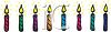 picture of a row of colorful burning birthday candles in a vector clip art illustration clipart