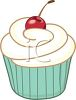 picture of a vanilla frosted cupcake with a cherry in a vector clip art illustration clipart