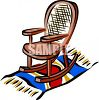 picture of a wooden rocking chair sitting on a blanket in a vector clip art illustration clipart
