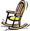 picture of a wooden rocking chair with a yellow padded seat in a vector clip art illustration clipart