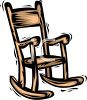 picture of a cartoon wooden rocking chair in a vector clip art illustration clipart