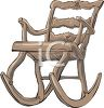 picture of an antique wooden rocking chair in a vector clip art illustration clipart