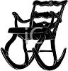 picture of a silhouette of a wooden rocking chair in a vector clip art illustration clipart