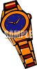 picture of a wrist watch with an orange band and blue face in a vector clip art illustration clipart