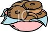 picture of a bowl of chocolate frosted donuts in a vector clip art illustration clipart
