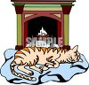 picture of a cat laying on a blanket in fron of a burning fire in a clip art illustration  clipart