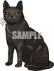 picture of a black cat sitting in a vector clip art illustration clipart