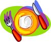 picture of a plate with a fork and a knife in a vector clip art illustration clipart