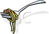 picture of a fork with spaghetti wrapped around it in a vector clip art illustration clipart