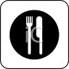 picture of a knife and fork on a plate in vector clip art illustration clipart