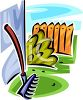 picture of a rake laying against a wall in a vector clip art illustration clipart