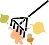 picture of a rake with leaves and acorns in a vector clip art illustration clipart