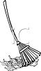 picture of a rake and a pile of leaves in a vector clip art illustration clipart