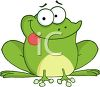 picture of a cartoon frog sitting down with his tongue out in a vector clip art illustration clipart
