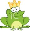 picture of a happy frog wearing a crown in a vector clip art illustration clipart