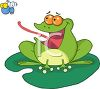picture of a frog sitting on a lily paid with his tongue out catching a fly in a vector clip art illustration clipart