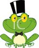 picture of a happy frog wearing a tophat and bowtie in a vector clip art illustration clipart
