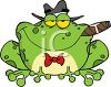 picture of a toad wearing a hat and bowtie, smoking a cigar in a vector clip art illustration clipart