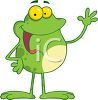 picture of a frog standing up with his hand in the air talking in a vector clip art illustration clipart