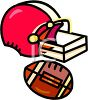 Picture of a football helmut and football in a vector clip art illustration clipart