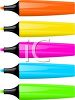 picture of colorful felt pens in a row in a vector clip art illustration clipart