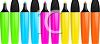 picture of felt markers. Some have lids, some do not have lids in a vector clip art illustration clipart