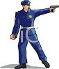 picture of a policeman pointing his gun in a vector clip art illustration clipart