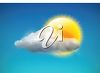 picture of a sun behind some clouds in a vector clip art illustration clipart