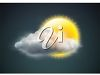 picture of a sun whith a cloud in fron in a vector clip art illustration clipart