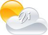 picture of the sun behind the clouds in a vector clip art illustration clipart