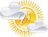 picture of clouds in front a bright sunshine in a vector clip art illustration clipart