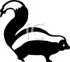 picture of a  cartoon skunk with it's tail up in a vector cliip art illustration clipart