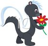 picture of an adorable cartoon skunk holding a red flower in a vector clip art illustration clipart