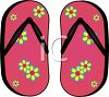 picture of a pair of flip flop sandals with a flower pattern in a vector clip art illustration clipart