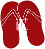 picture of a pair of red flip flop sandals in a vector clip art illustration clipart