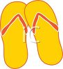 picture of a pair of yellow and orange flip flop sandals in a vector clip art illustration clipart