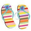 picture of a pair colorful striped flip flop sandals in a vector clip art illustration clipart