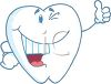 picture of a cartoon tooth smiling with a thumbs up in a vector clip art illustration clipart