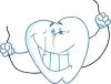 picture of a cartoon smiling toothe holding dental floss in a vector clip art illustration clipart