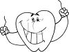 picture of a happy smiling cartoon tooth holding dental floss in a vector clip art illustration clipart