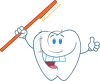 picture of a smiling tooth cartoon holding a toothbrush in  a vector clip art illustration clipart