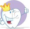 picture of a smiling happy cartoon tooth wearing a crown in a vector clip art illustration clipart